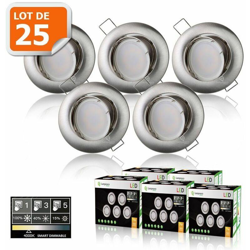 LAMPESECOENERGIE 25 SPOTS LED DIMMABLE SANS VARIATEUR 7W eq.56w BLANC NEUTRE ORIENTABLE