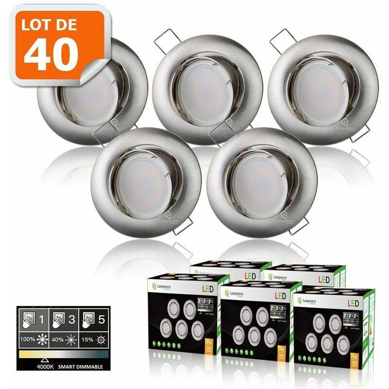 LAMPESECOENERGIE 40 SPOTS LED DIMMABLE SANS VARIATEUR 7W eq.56w BLANC NEUTRE ORIENTABLE