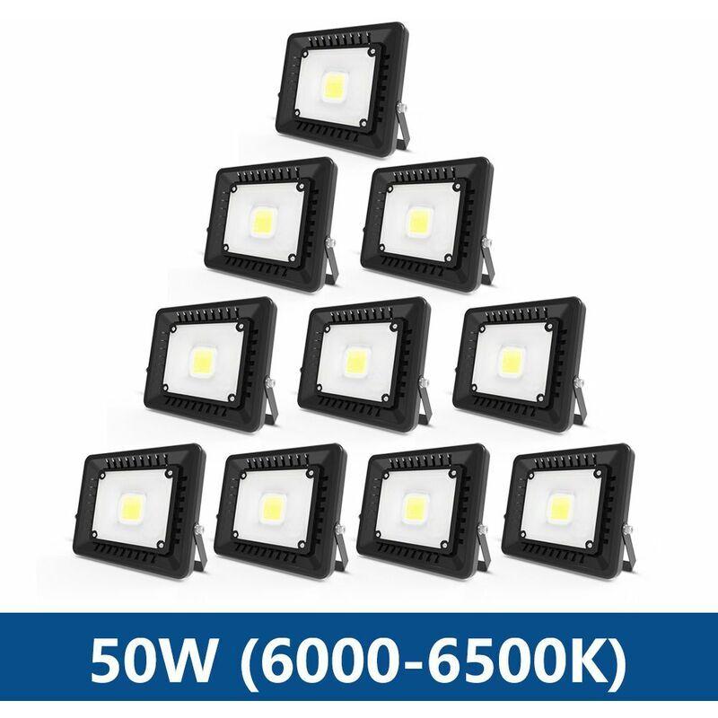 ANTEN 10×Anten 50W Projecteur LED IP65 Étanche Ultra-Mince Spot LED Léger