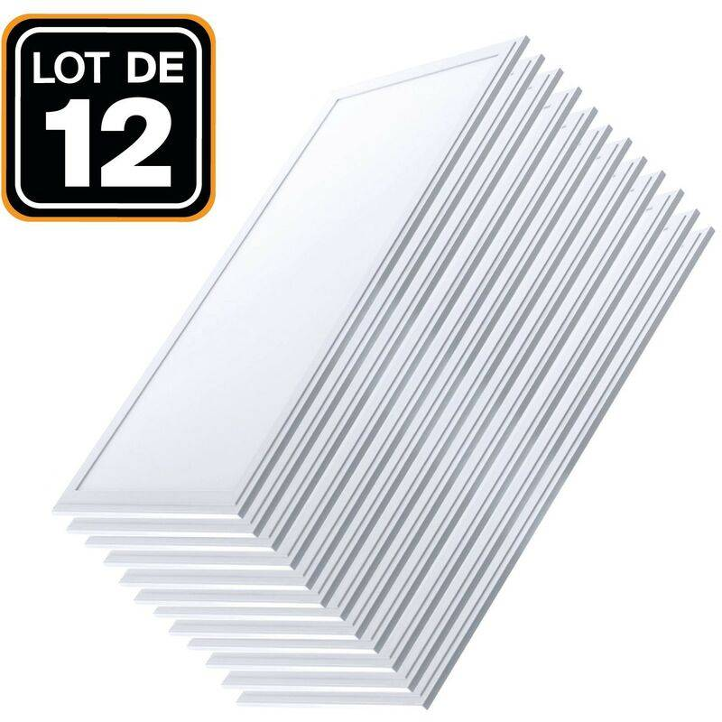 EUROPALAMP Dalle LED 1200x300 40W lot de 12 pcs Blanc Froid 6000k Haute Luminosité