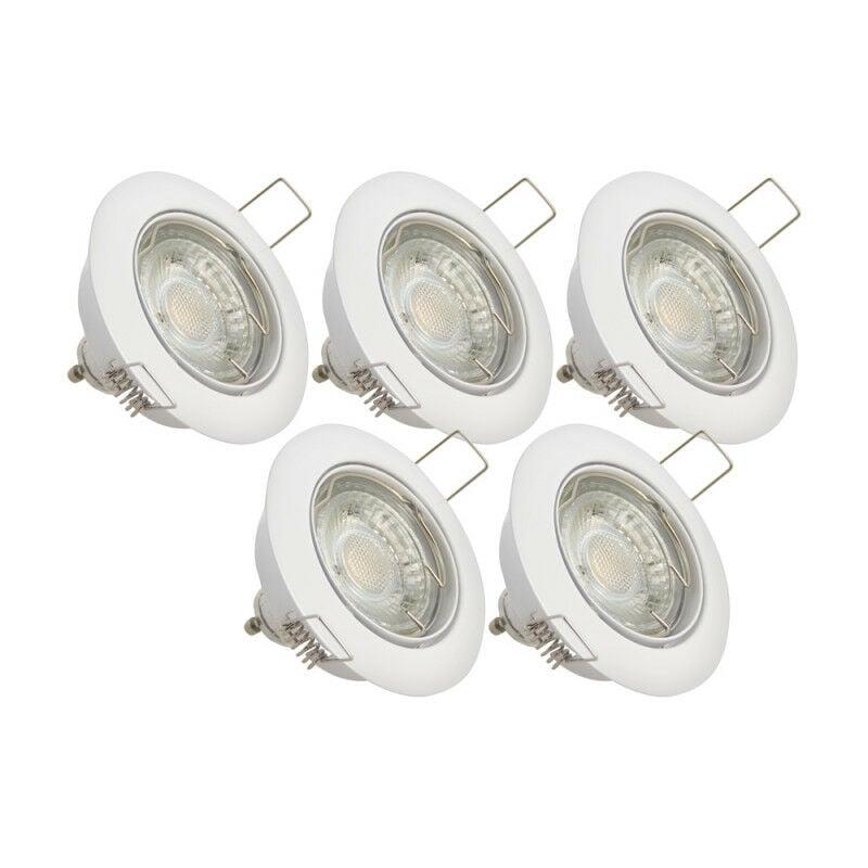 XANLITE Lot de 5 spots encastrés - lumière chaude - ampoule LED GU10 incluses