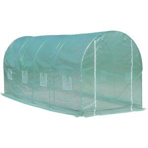 Outsunny Serre de jardin tunnel surface sol 10 m² 5L x 2l x 2,10H m châssis - Publicité