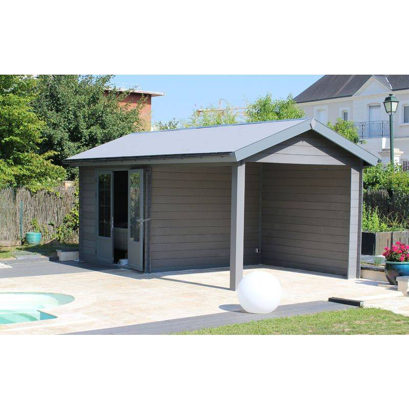 GREEN OUTSIDE Abri de jardin - Pool House composite 6 x 3 avec toit 2 pentes - GREEN