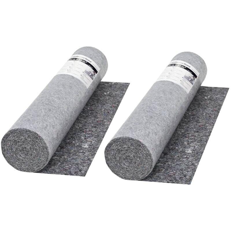VIDAXL Bâche de Protection contre Peinture Gris 50 m 280 g/m² 2 pcs - VIDAXL