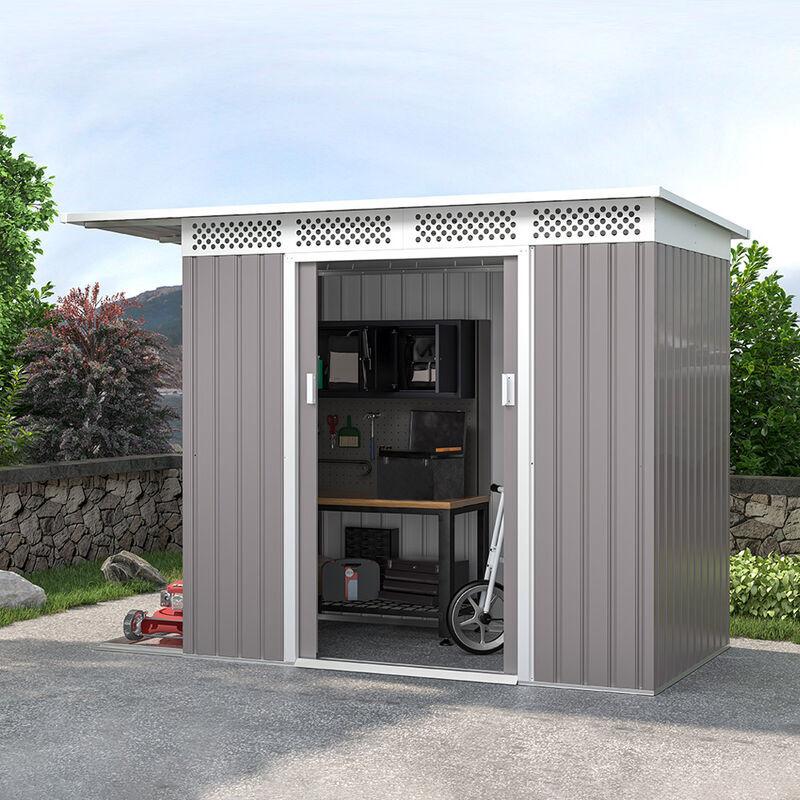 SOANA GARDEN SHED Cabanon tôle galvanisée grise pour outils de jardin Tyrol 257X142x184cm