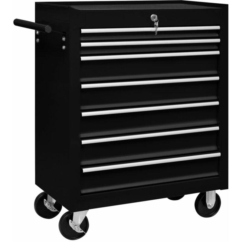 ASUPERMALL Chariot a outils d'atelier avec 7 tiroirs Noir - ASUPERMALL