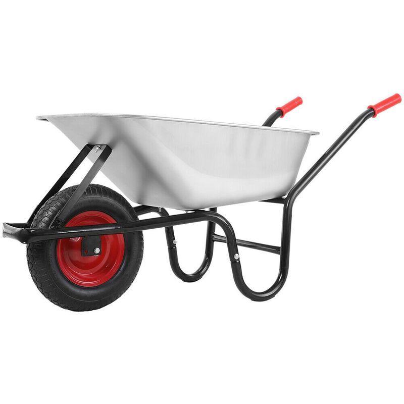 AUGIENB Brouette de jardin brouette 130L Max. 250KG avec pneu Argent chariot