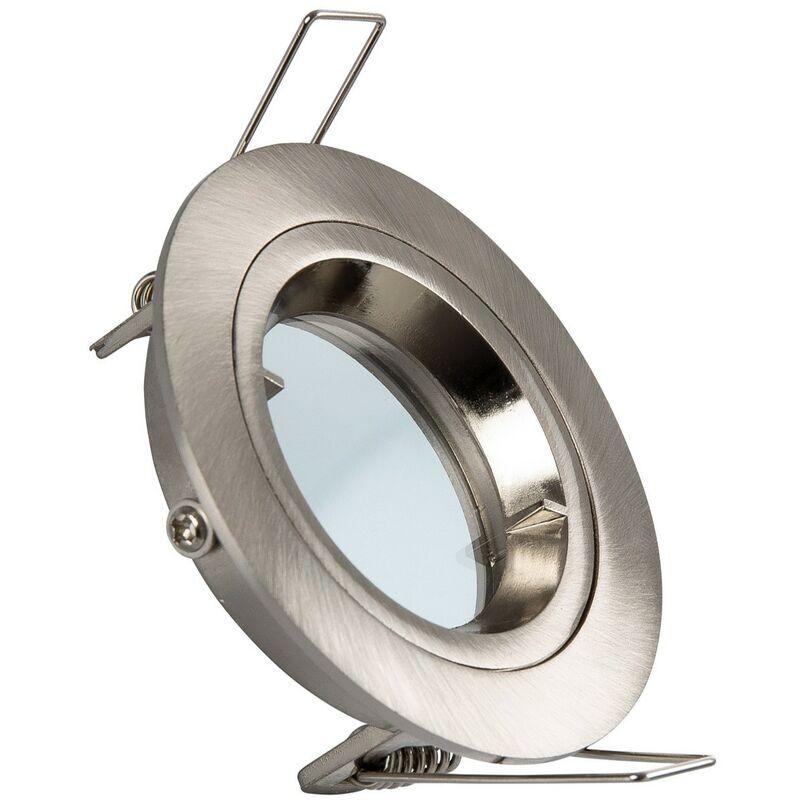 LEDKIA Collerette Ronde Downlight Argentée pour Ampoule LED GU10 / GU5.3