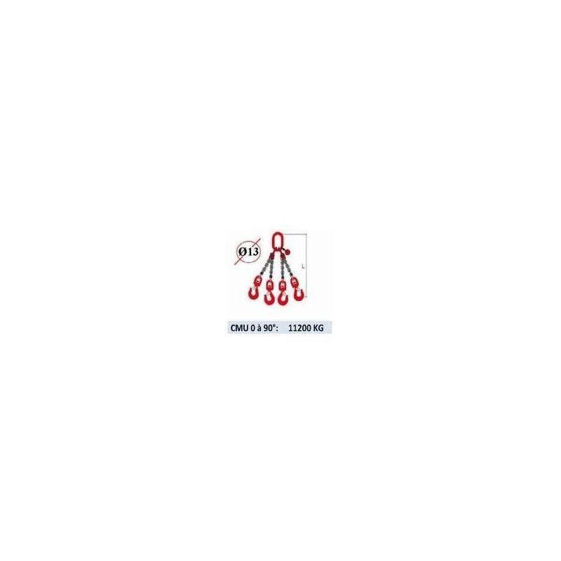WEBSILOR Elingue chaine 4 brins - crochets à émerillon - CMU 11200 kg (classe