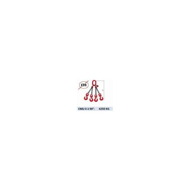 WEBSILOR Elingue chaine 4 brins - crochets à émerillon - CMU 4250 kg (classe 80)