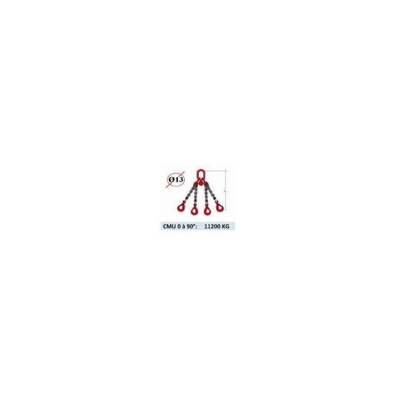 WEBSILOR Elingue chaine 4 brins - crochets automatiques - CMU 11200 kg (classe
