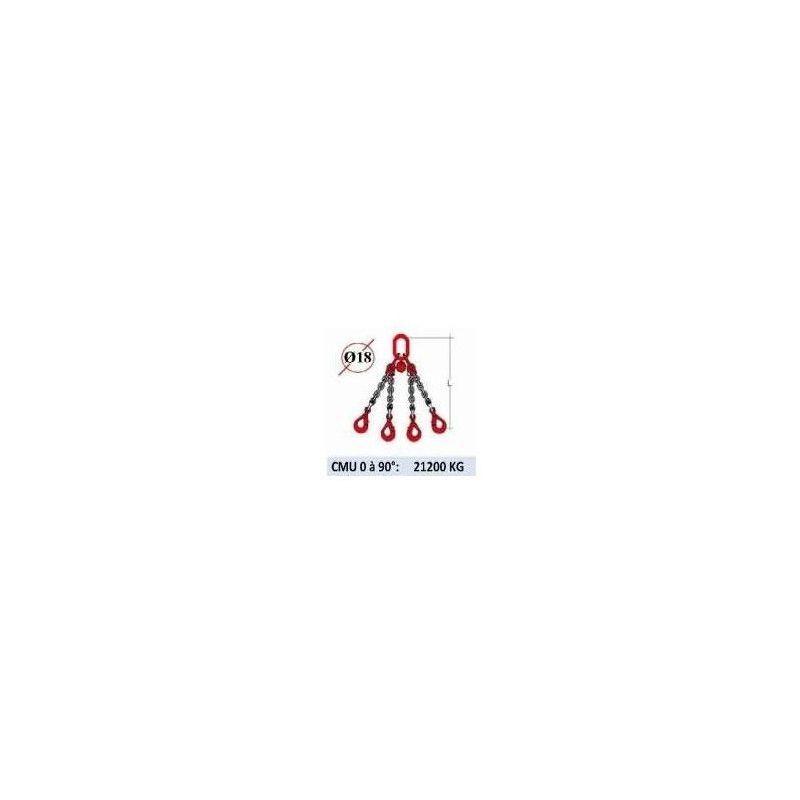 WEBSILOR Elingue chaine 4 brins - crochets automatiques - CMU 21200 kg (classe