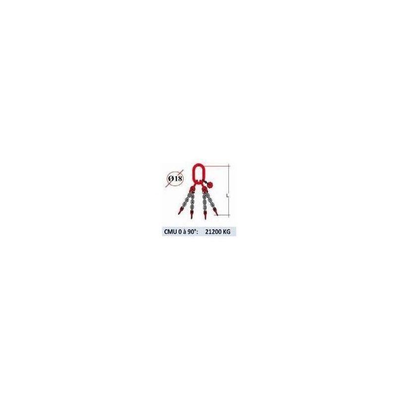 WEBSILOR Elingue chaine 4 brins - sans crochet - CMU 21200 kg (classe 80)