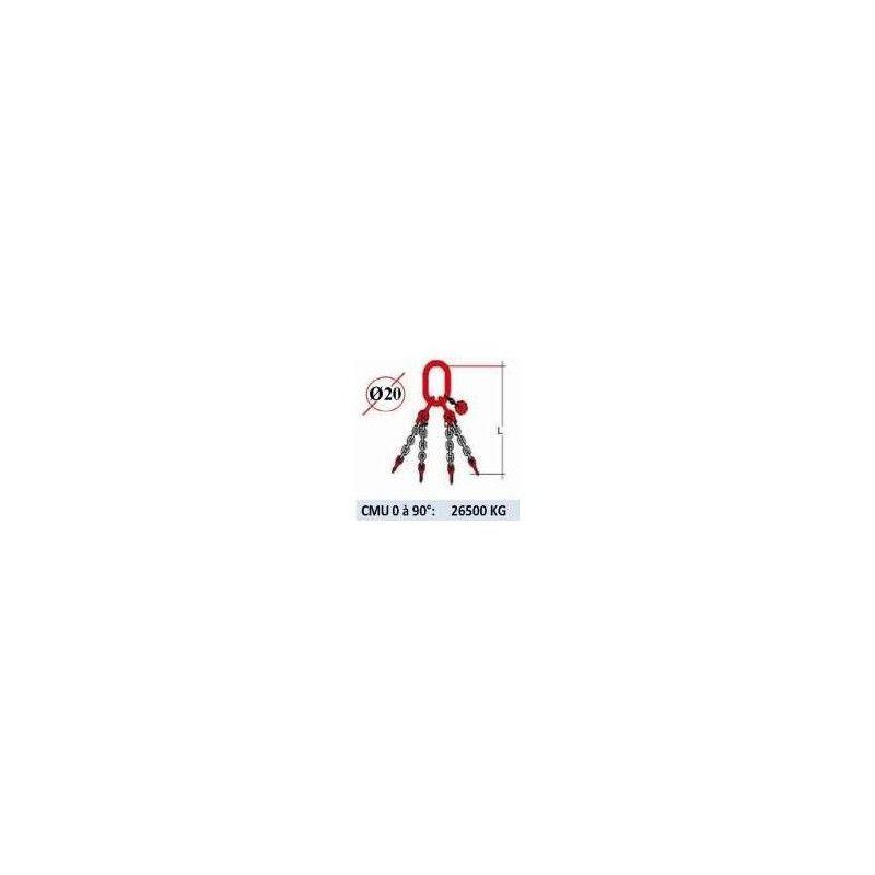 WEBSILOR Elingue chaine 4 brins - sans crochet - CMU 26500 kg (classe 80)