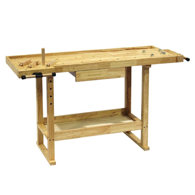 WILTEC Etabli 145x49x86cm en bois (Rubberwood) avec étagère et pinces - WILTEC