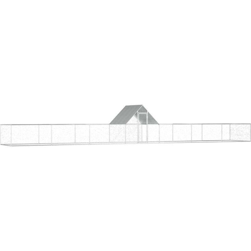HOMMOO Poulailler 14 x 2 x 2 m Acier galvanisé HDV06057 - Hommoo