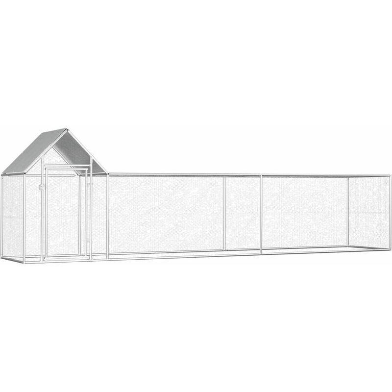 HOMMOO Poulailler 5 x 1 x 1,5 m Acier galvanisé HDV06049 - Hommoo