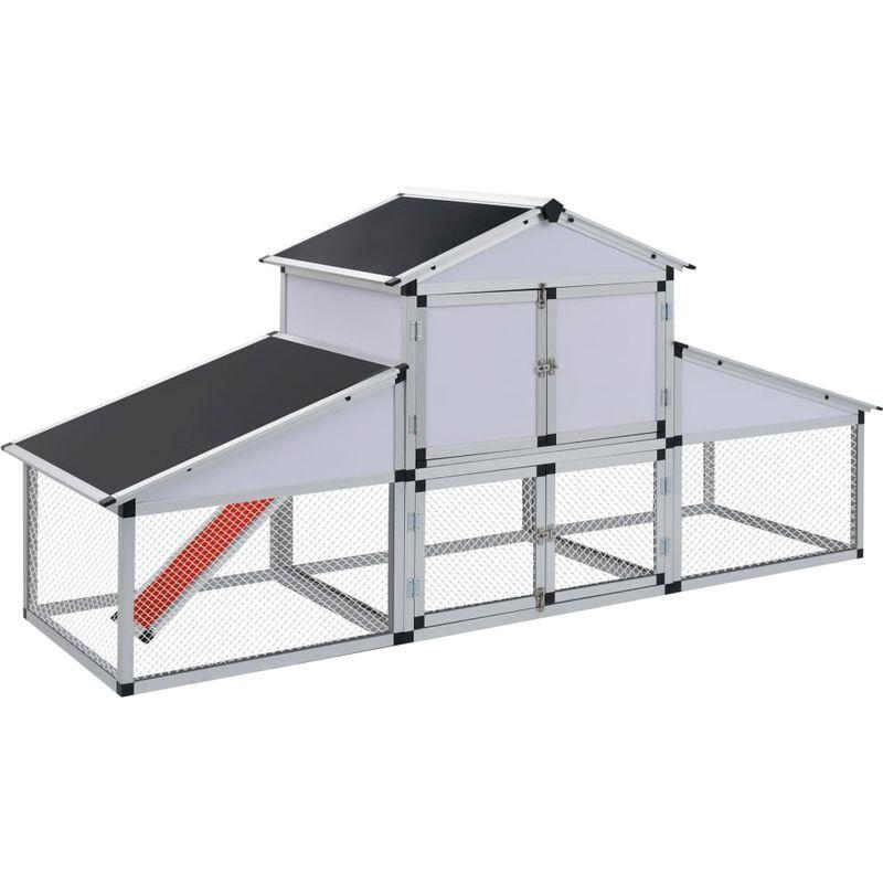 HOMMOO Poulailler avec rampes et nichoir Aluminium VD26458 - Hommoo