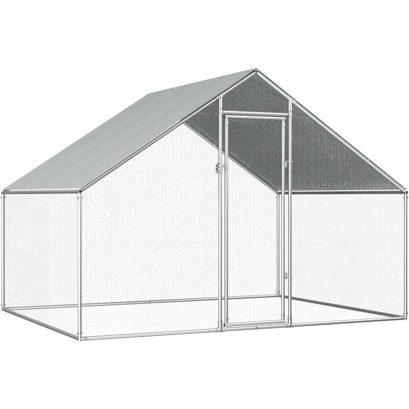 HOMMOO Poulailler d'extérieur 2,75 x 2 x 2 m Acier galvanisé HDV07325 - Hommoo