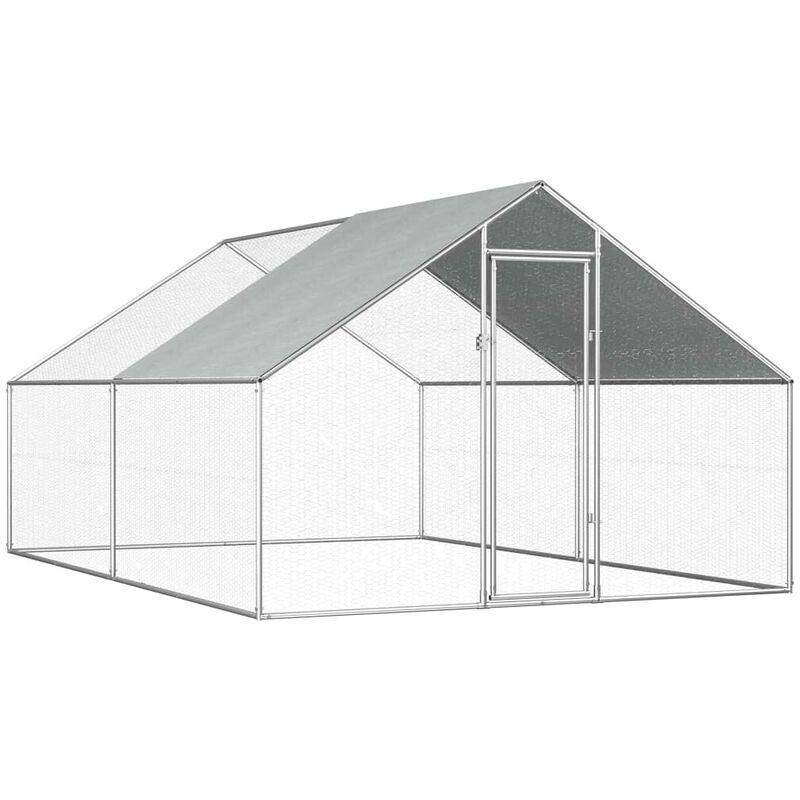 HOMMOO Poulailler d'extérieur 2,75 x 4 x 2 m Acier galvanisé HDV07326 - Hommoo
