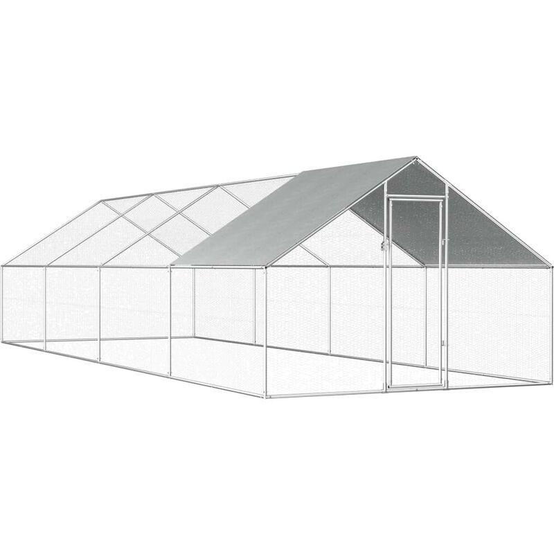HOMMOO Poulailler d'extérieur 2,75 x 8 x 2 m Acier galvanisé HDV07328 - Hommoo