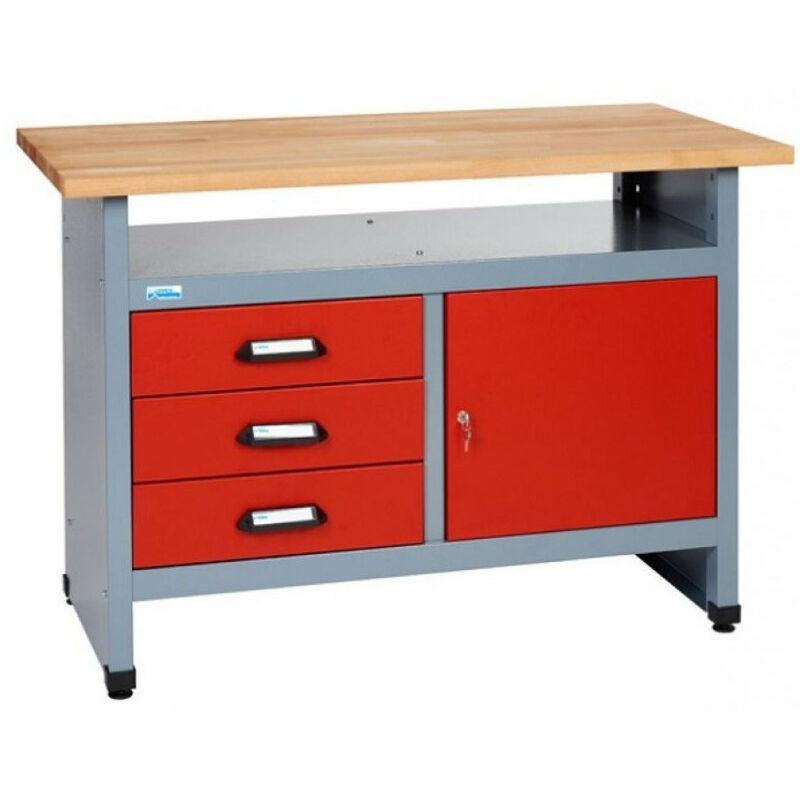 KUPPER Etabli 1 porte 3 tiroirs et 1 compartiment L:120 cm - Rouge 12082