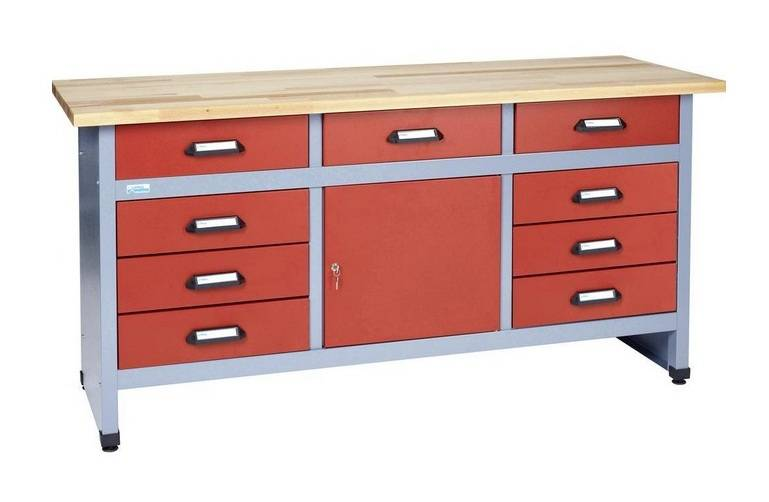 Kupper – Etabli 1 porte verrouillable et 9 tiroirs Rouge Longueur 1,70m