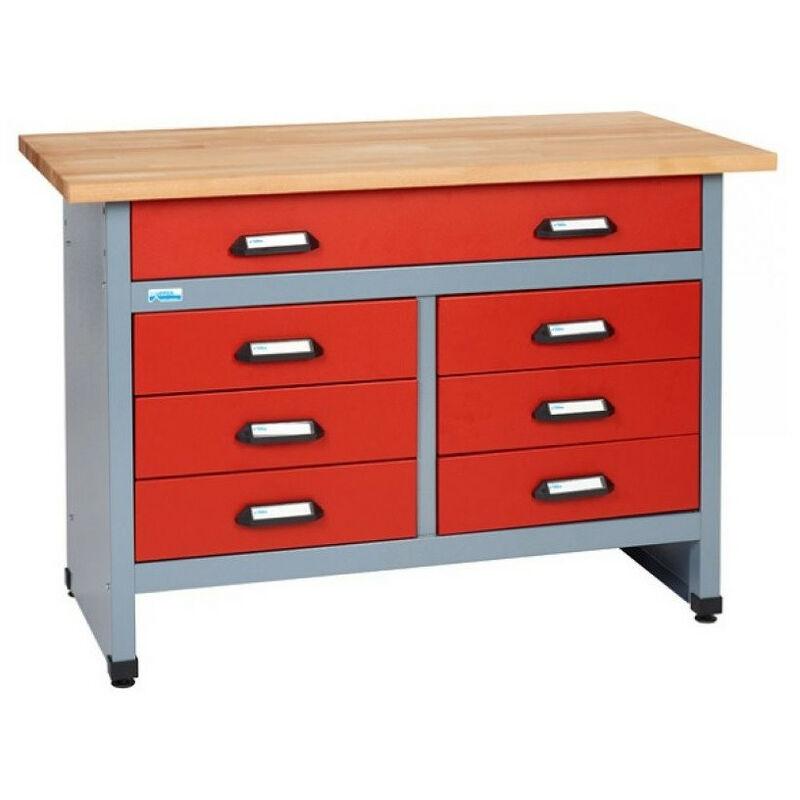 Kupper - Etabli 7 tiroirs Longueur 1,20 m - Rouge 12122