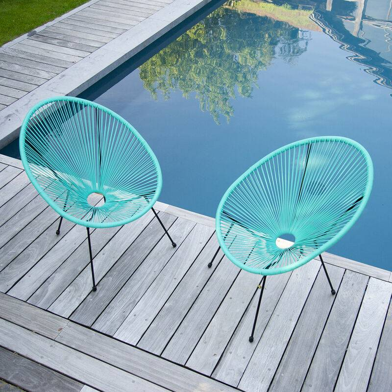 HAPPY GARDEN Lot de 2 fauteuils œuf ACAPULCO aqua - Bleu - HAPPY GARDEN