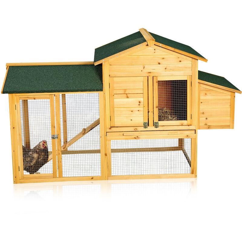 Melko Poulailler avec sortie pour 4-6 poulets Poulailler 168x75x103 cm