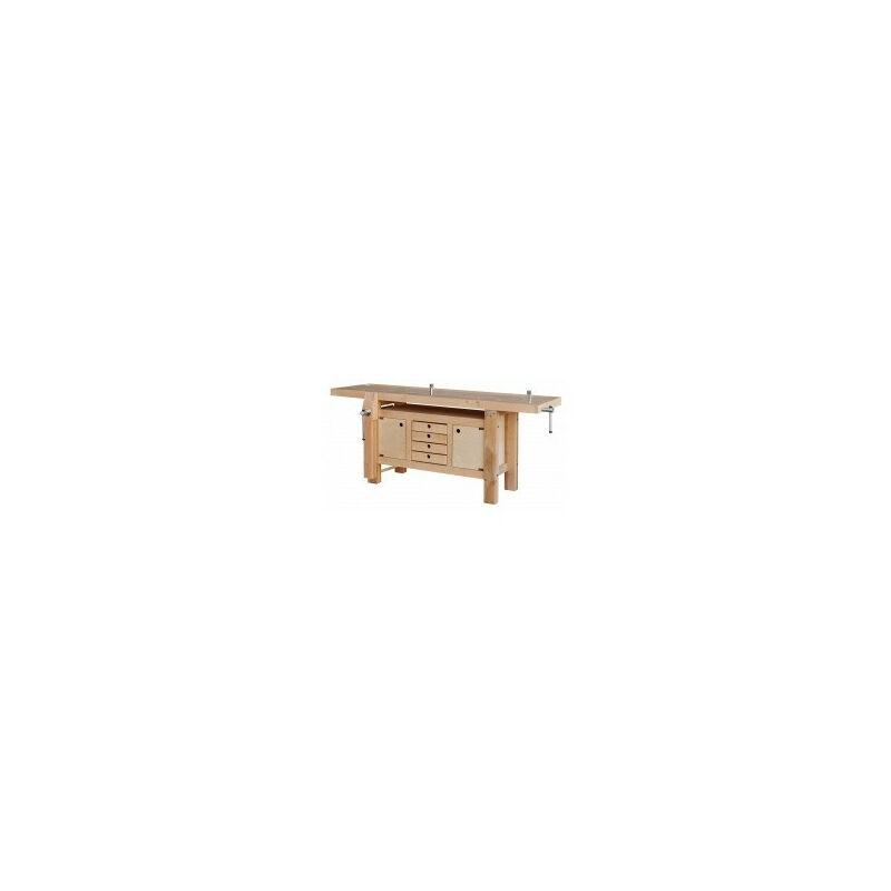 OUTIFRANCE Etabli massif en bois à caisson 2,00 x 0,60 m 4 tiroirs 2 portes