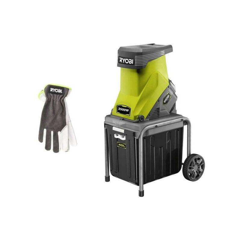Pack RYOBI Broyeur de végétaux 2500W RSH2545B – Gants de jardinage Cuire Taille M RAC810M