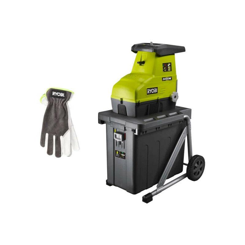 Pack RYOBI Broyeur de végétaux 3000W RSH3045U – Gants de jardinage Cuire Taille L RAC810L
