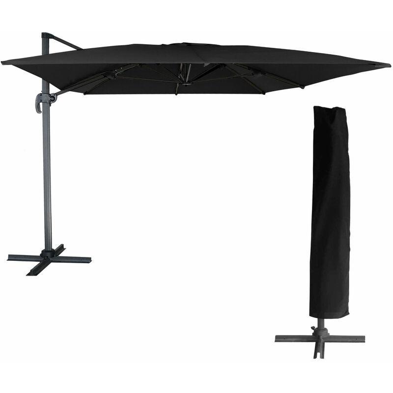 Happy Garden - Parasol déporté MOLOKAI rectangulaire 3x4m noir + housse