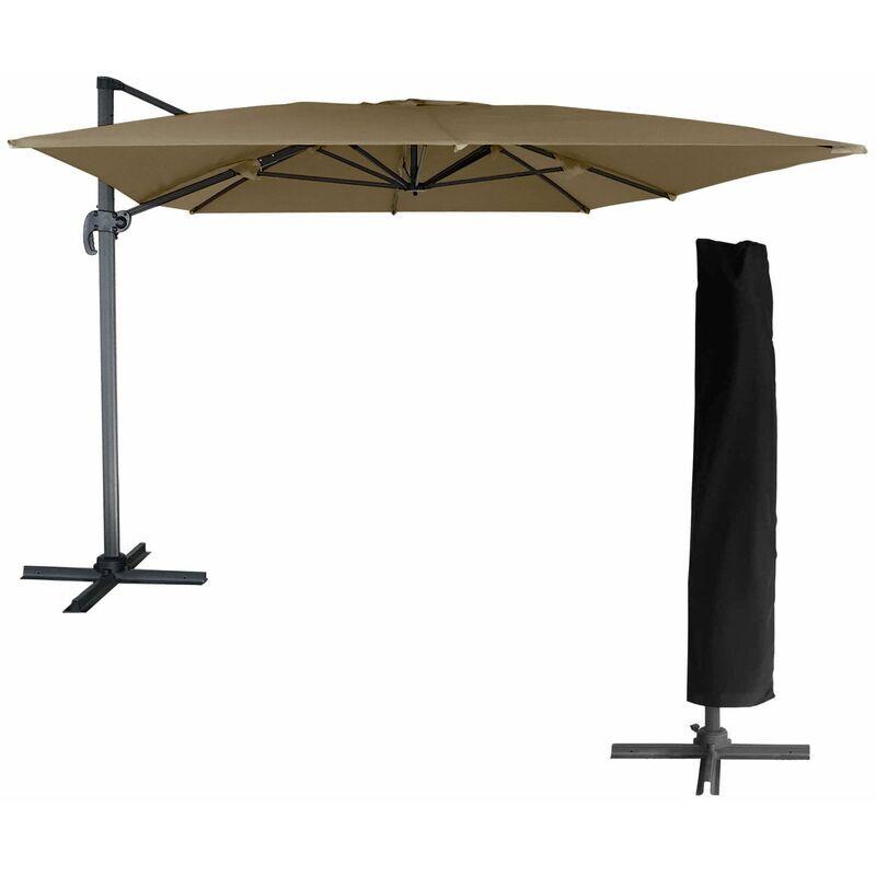 Happy Garden - Parasol déporté MOLOKAI rectangulaire 3x4m taupe +