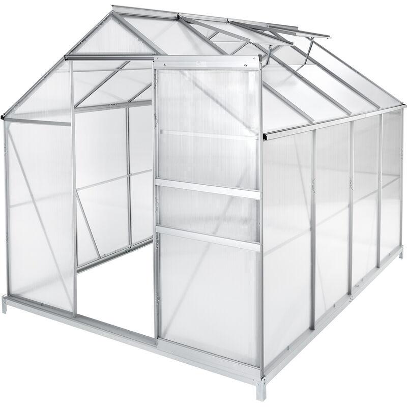 TECTAKE Serre de Jardin Polycarbonate 4,41 m² + 1 Embase en Acier - TECTAKE