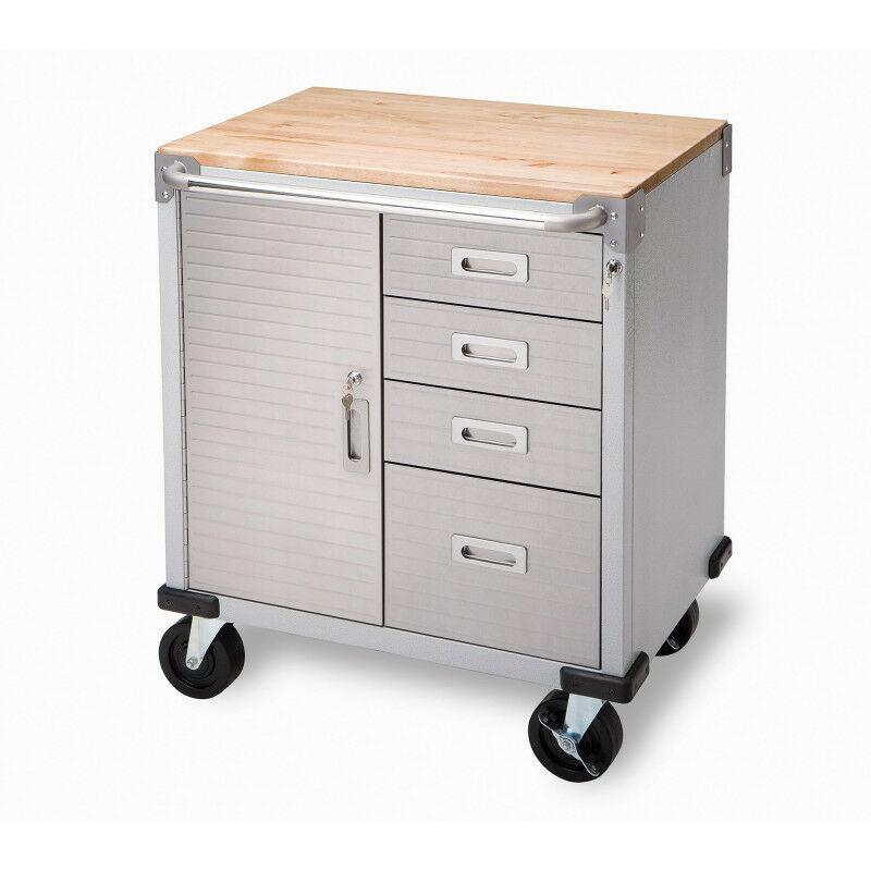 AUTOBEST Servante atelier 4 tiroirs + 1 compartiment plateau bois - AUTOBEST