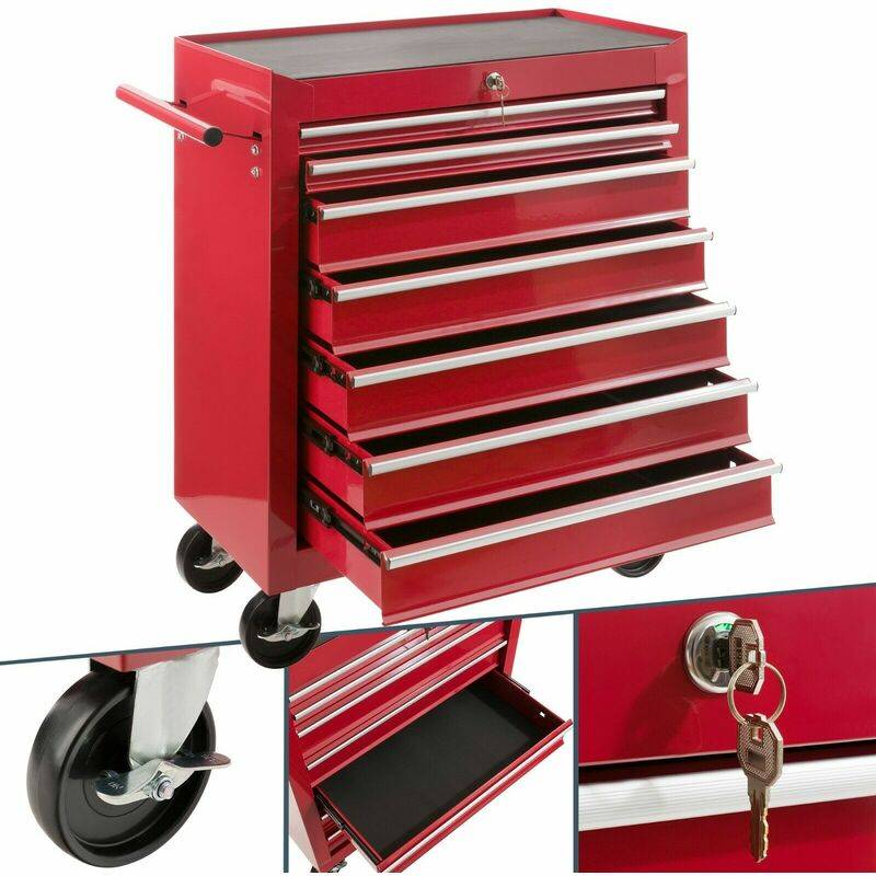 AREBOS Servante Caisse à outils d'atelier 7 tiroirs tools chest chariot rouge