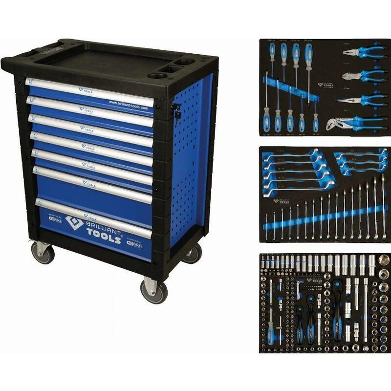 BRILLIANT TOOLS Servante d'atelier 7 tiroirs Composé de 207 outils + Tapis de