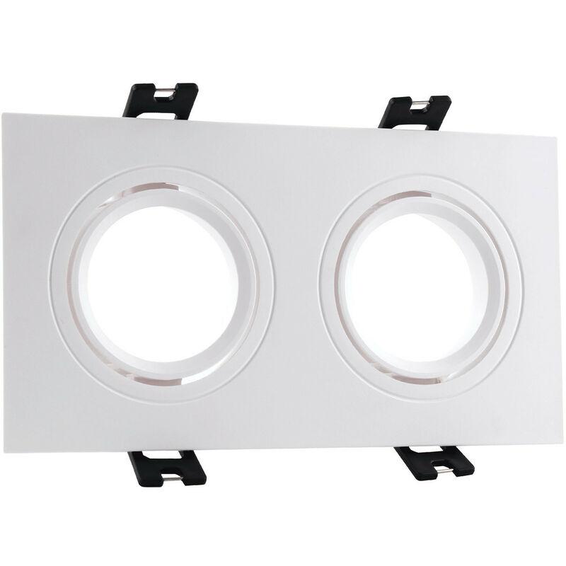 LEDKIA Support Spot Carré Orientable PC pour 2 Ampoules LED GU10 / GU5.3 Blanc