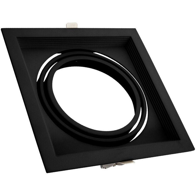 LEDKIA Support Spot Carré Orientable Aluminium pour 1 Ampoule LED AR111 Noir