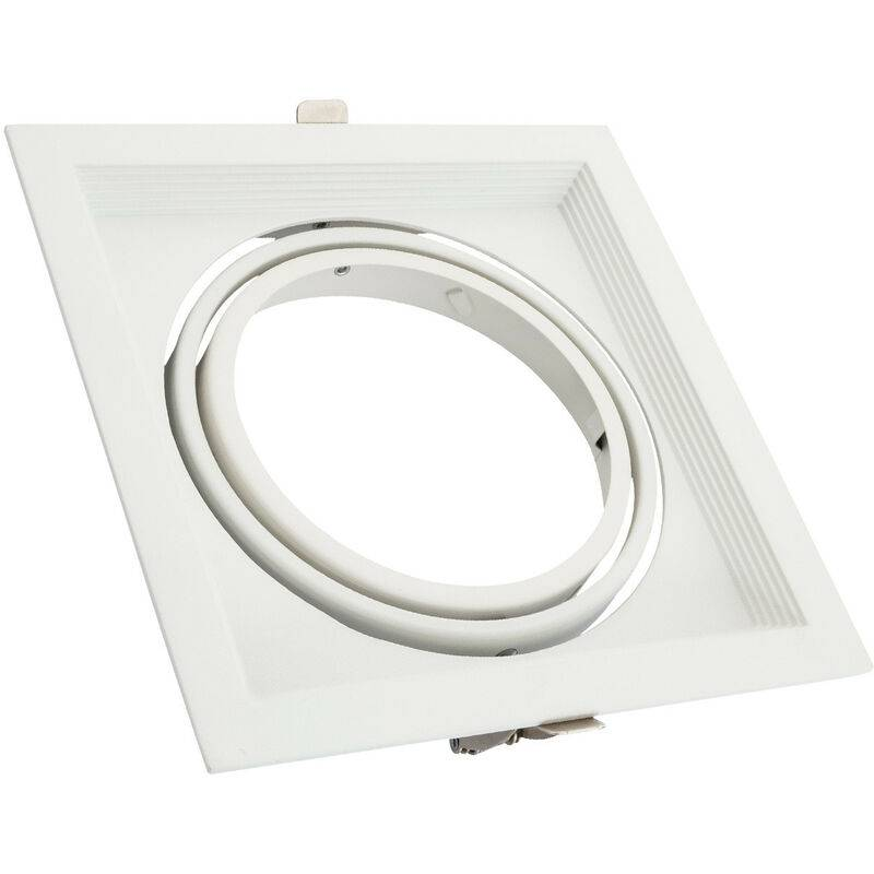 LEDKIA Support Spot Carré Orientable Aluminium pour 1 Ampoule LED AR111 Blanc