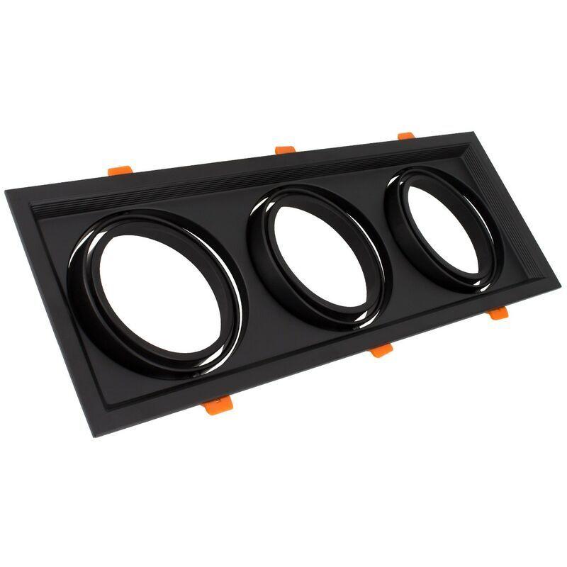 LEDKIA Support Spot Carré Orientable Aluminium pour 3 Ampoules LED AR111 Noir