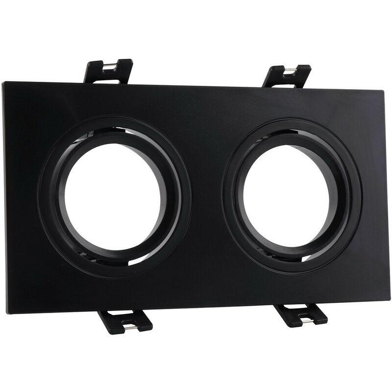 LEDKIA Support Spot Carré Orientable PC pour 2 Ampoules LED GU10 / GU5.3 Noir