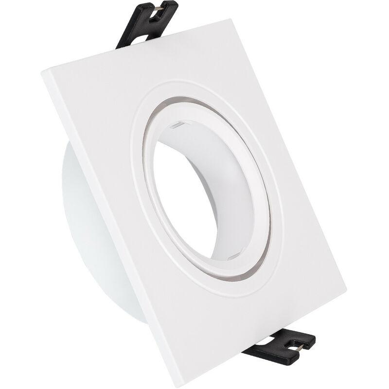 LEDKIA Support Spot Carré Orientable PC pour Ampoule LED GU10 / GU5.3 Blanc