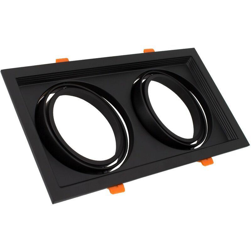 LEDKIA Support Spot Carré Orientable pour 2 Ampoules LED AR111 Noir - Noir