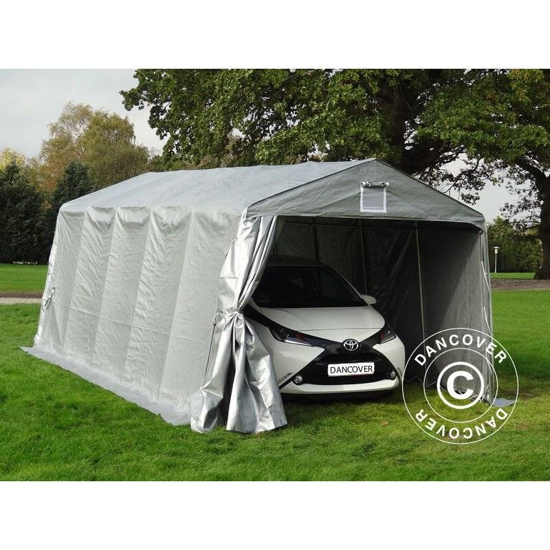DANCOVER Tente Abri Voiture Garage PRO 3,3x6x2,4m PE, Gris - DANCOVER