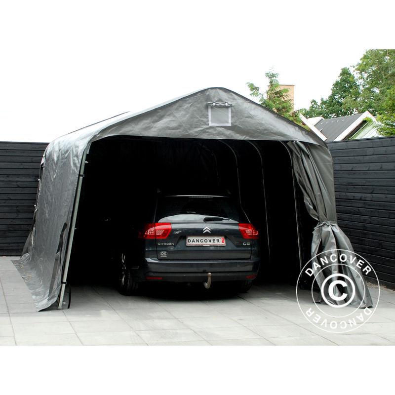 DANCOVER Tente Abri Voiture Garage PRO 3,6x6x2,68m PE, Gris - DANCOVER