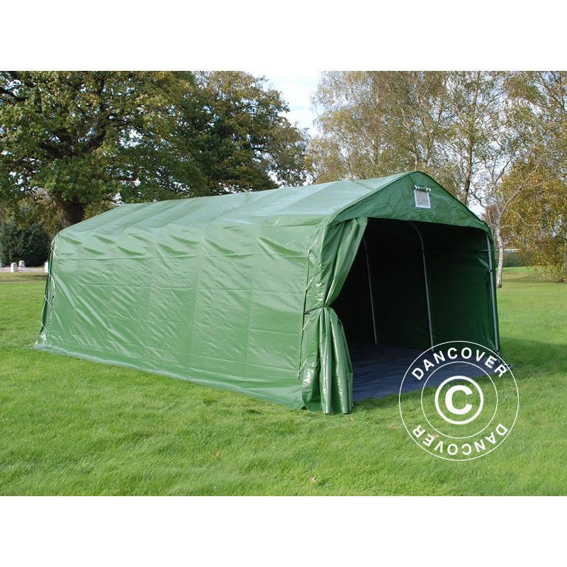 DANCOVER Tente abri Voiture garage PRO 3,6x7,2x2,68m PVC avec couvre-sol, Vert