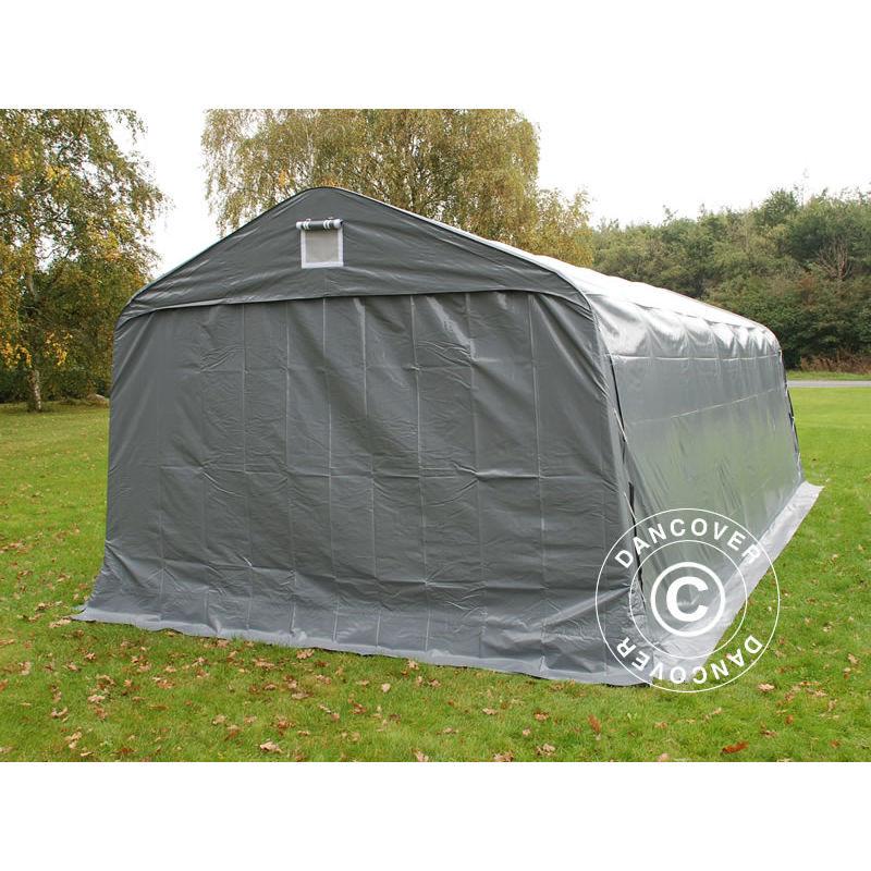 DANCOVER Tente Abri Voiture Garage PRO 3,6x7,2x2,68m PVC, Gris - DANCOVER